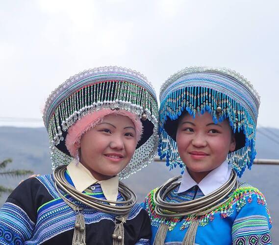 Colourful headdresses of ethnic girls